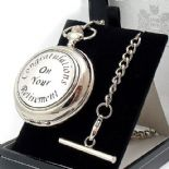 RETIREMENT Pocket Watch, Skeleton Mechanical, PERSONALISED ref PWRSK